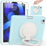 Shocproof Silicone + PC Protective Case with 360 Degree Rotation Foldable Handle Grip Holder & Pen Slot For iPad Air 4 10.9 / Pro 11 2021 / 2020 / 2018(Ice Crystal Blue)