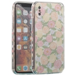 TPU Embossed + Double-sided Painting Protective Case For iPhone X / XS(Pink Rose)