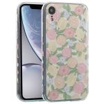 TPU Embossed + Double-sided Painting Protective Case For iPhone XR(Pink Rose)