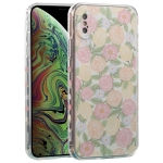 TPU Embossed + Double-sided Painting Protective Case For iPhone XS Max(Pink Rose)