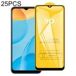 For OPPO A35 25 PCS 9D Full Glue Full Screen Tempered Glass Film