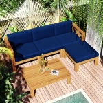 [US Warehouse] 5 in 1 Wooden Free Combination Sofa Chair + Table Outdoor Patio Furniture Set