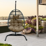 [US Warehouse] Iron Single Seat Hanging Basket Chair with Cushion, Size: 77.17 x 43.31 x 43.31 inch(Brown)