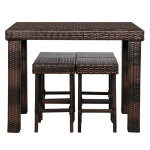 [US Warehouse] 5 in 1 Iron Frame PE Rattan Bar Table And Chairs Set