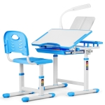 [US Warehouse] Kids Desk And Chairs Set with Locker & Lamp (Blue)