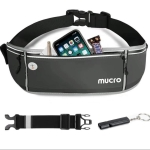 Mucro Running Fanny Bag Large Capacity Sports Belt Waist Pouch Bag with Survival Whistle & Adjustable Extender for iPhone 12  / 12 Pro, iPhone XS Max and 6.5 inch Phones (Black)