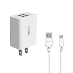 WEKOME WP-U56 2 in 1 2A Dual USB Travel Charger + USB to Micro USB Data Cable Set, US Plug (White)