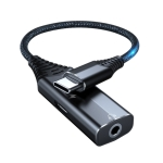 BY206 USB-C / Type-C Male to PD 60W USB-C / Type-C Charging + 3.5mm Audio Female Earphone Adapter (Black)
