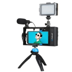 PULUZ 4 in 1 Bluetooth Handheld Vlogging Live Broadcast LED Selfie Light Smartphone Video Rig Kits with Microphone + Tripod Mount + Cold Shoe Tripod Head for iPhone, Galaxy, Huawei, Xiaomi, HTC, LG, Google, and Other Smartphones (Blue)