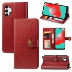 For Samsung Galaxy A32 4G Solid Color Leather Buckle Phone Case with Lanyard & Photo Frame & Card Slot & Wallet & Stand Function(Red)