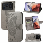 For Xiaomi Mi 11 Ultra Butterfly Love Flowers Embossed Horizontal Flip Leather Case with Holder & Card Slots & Wallet & Lanyard(Grey)