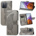 For Xiaomi Mi 11 Pro Butterfly Love Flowers Embossed Horizontal Flip Leather Case with Holder & Card Slots & Wallet & Lanyard(Grey)