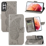 For Samsung Galaxy S21 FE Butterfly Love Flowers Embossed Horizontal Flip Leather Case with Holder & Card Slots & Wallet & Lanyard(Grey)