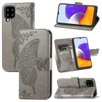 For Samsung Galaxy A22 4G Butterfly Love Flowers Embossed Horizontal Flip Leather Case with Holder & Card Slots & Wallet & Lanyard(Grey)