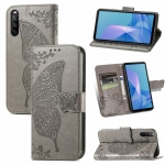 For Sony Xperia 10 III Butterfly Love Flowers Embossed Horizontal Flip Leather Case with Holder & Card Slots & Wallet & Lanyard(Grey)