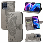 For Realme V13 5G/ 8 5G / Q3i 5G / Q3 5G Butterfly Love Flowers Embossed Horizontal Flip Leather Case with Holder & Card Slots & Wallet & Lanyard(Grey)