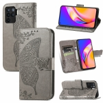 For OPPO A94 4G / F19 Pro / Reno5 Lite Butterfly Love Flowers Embossed Horizontal Flip Leather Case with Holder & Card Slots & Wallet & Lanyard(Grey)