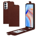 For OPPO Reno5 Pro+ / Find X3 Neo R64 Texture Single Vertical Flip Leather Protective Case with Card Slots & Photo Frame(Brown)