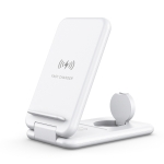 15W 3 in 1 Foldable Qi Fast Wireless Charger Station Phone Holder for iPhones & iWatchs & Airpods(White)
