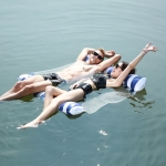 Inflatable Recliner On Water Foldable Backrest Floating Bed Inflatable Floating Row, Style: Striped Double(Dark Blue)