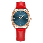 YAZOLE Ladies Luminous Quartz Watch(538 Gold Shell Blue Tray Red Belt)