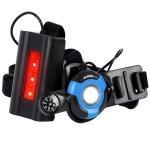 WEST BIKING YP0701264 Outdoor Sports Running Light With Compass Camera Buckle Night Running Highlight Chest Warning Light(Black+Blue)