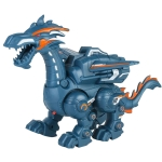 Electric Mechanical Dinosaur Toy Simulation Animal Toy Multifunctional Sound And Light Toy, Style: Spray-Blue