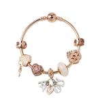 MGZ03 Rose Gold Love Heart Lock Decorative Bracelet, Length: 18cm