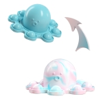 2 PCS Double-Sided Flip Bubble Decompression Toy Octopus Keychain, Colour: Light Blue To Camouflage