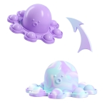 2 PCS Double-Sided Flip Bubble Decompression Toy Octopus Keychain, Colour: Purple To Camouflage