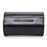CONTACTS FAMILY CF1124A Retro Crazy Horse Leather Watch Storage Box Portable Round Magnetic Buckle Couple Watch Box(Black)
