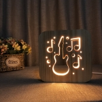 FS-T1877W 2.5W Guitar Shape Solid Wood Table Lamp LED Night Light(Warm White Light)