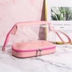 2 PCS Large-Capacity Dry And Wet Separation Waterproof Wash Transparent Bag Travel Cosmetic Storage Bag(Transparent pink)