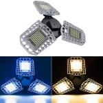 100W LED Industrial Mining Light Waterproof Light Sensor Folding Tri-Leaf Garage Lamp(Warm White Light)