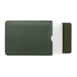 BUBM PGDNB-13 Vertical Square Type Solid Color PU Leather Waterproof Laptop Handbag Liner Bag, Size: 15 inch(Ink Green)