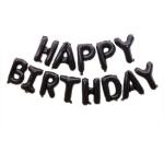 2 PCS 16 Inch Happy Birthday Letter Aluminum Film Balloon Birthday Party Decoration Specification:(US Version Black)