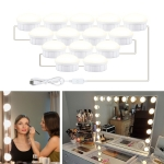 14 LEDs Mirror Front Light Dimmable Makeup Mirror USB Touch Control Light(White Light)