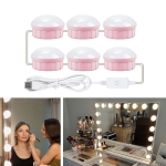 6 LEDs Mirror Front Light Dimmable Makeup Mirror USB Touch Control Light(White Light)