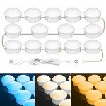 14 LEDs Cosmetic Room Bathroom Mirror Front Light USB Three-Color Dimming Light