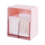 3 PCS HZ006 Desktop Transparent Double-Layer Cotton Swabs And Dustproof Storage Box With Lid(Pink)
