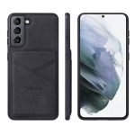 For Samsung Galaxy S21 FE TAOKKIM Retro Matte PU Leather + PC + TPU Shockproof Back Cover Case with Holder & Card Slot(Black)