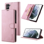 For Samsung Galaxy S21 FE 5G TAOKKIM Skin Feel Calf Texture Horizontal Flip PU Leather Case with Holder & Card Slots & Photo Frame & Wallet(Pink)