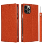 Litchi Texture Horizontal Flip Top Layer Cowhide Leather Case with Holder & Card Slots & Wallet & Strap & Wire Winder For iPhone 12 / 12 Pro(Orange)
