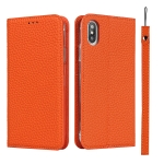 Litchi Texture Horizontal Flip Top Layer Cowhide Leather Case with Holder & Card Slots & Wallet & Strap & Wire Winder For iPhone X / XS(Orange)