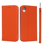 Litchi Texture Horizontal Flip Top Layer Cowhide Leather Case with Holder & Card Slots & Wallet & Strap & Wire Winder For iPhone XR(Orange)