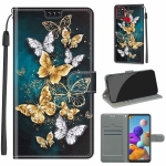 For Samsung Galaxy A21s Voltage Colored Drawing Magnetic Clasp Horizontal Flip PU Leather Case with Holder & Card Slots(C20 Gold Silver Flying Butterflies)