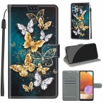 For Samsung Galaxy A32 4G Voltage Colored Drawing Magnetic Clasp Horizontal Flip PU Leather Case with Holder & Card Slots(C20 Gold Silver Flying Butterflies)