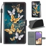 For Samsung Galaxy A32 5G Voltage Colored Drawing Magnetic Clasp Horizontal Flip PU Leather Case with Holder & Card Slots(C20 Gold Silver Flying Butterflies)