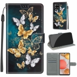 For Samsung Galaxy A42 5G Voltage Colored Drawing Magnetic Clasp Horizontal Flip PU Leather Case with Holder & Card Slots(C20 Gold Silver Flying Butterflies)