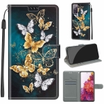 For Samsung Galaxy S20 FE 5G Voltage Colored Drawing Magnetic Clasp Horizontal Flip PU Leather Case with Holder & Card Slots(C20 Gold Silver Flying Butterflies)